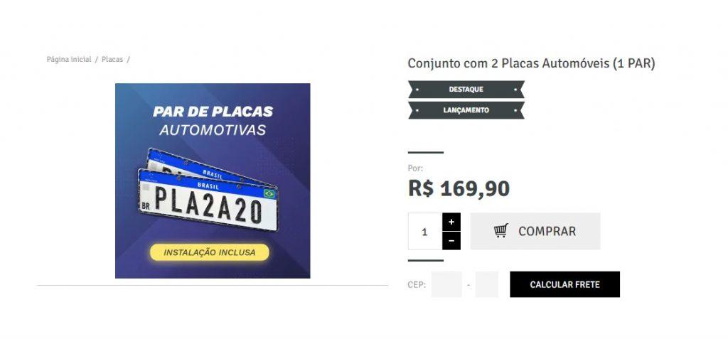 Placas Autos - Loja 2 - Tela Compra